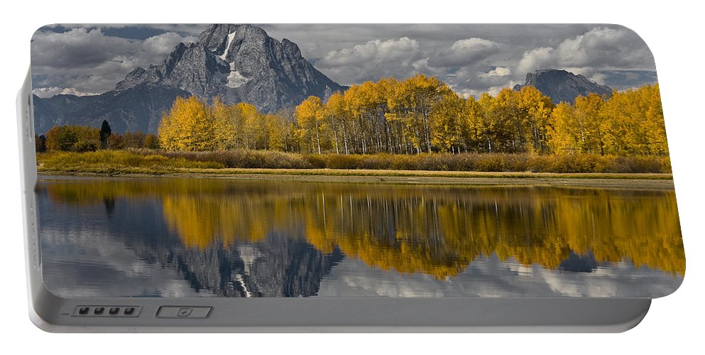 Grand Teton Gold Portable Battery Charger featuring the photograph Grand Teton Gold by Wes and Dotty Weber