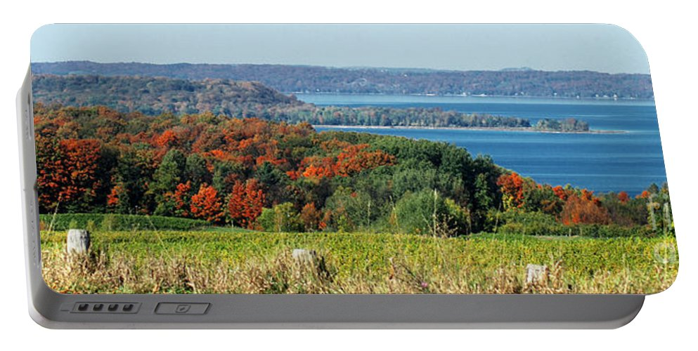 Grand Traverse Winery In Autumn Portable Battery Charger featuring the photograph Grand Traverse Winery Lookout by Optical Playground By MP Ray