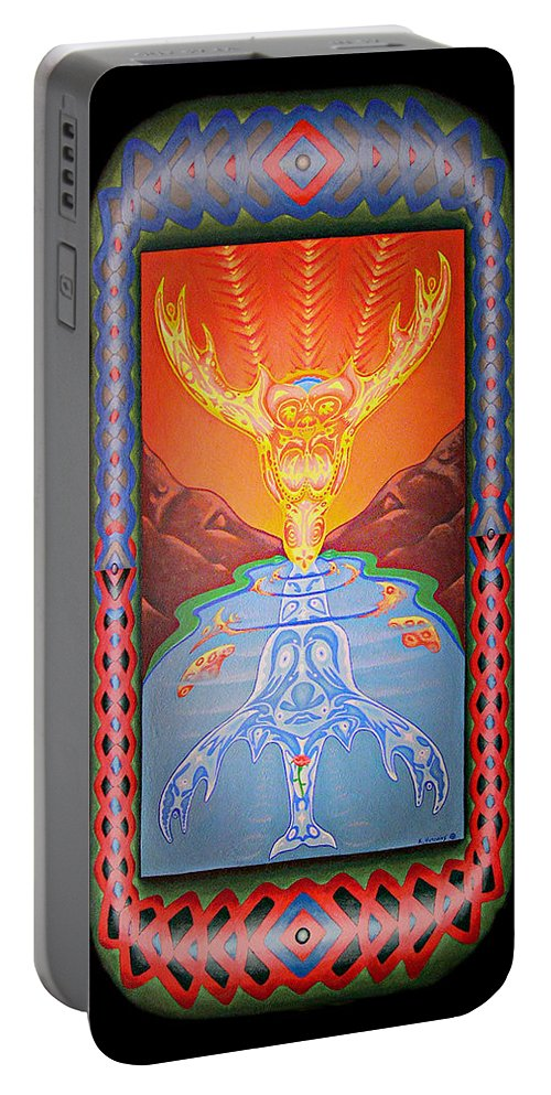 Native American Portable Battery Charger featuring the painting Grandmother Grandfather by Kevin Chasing Wolf Hutchins