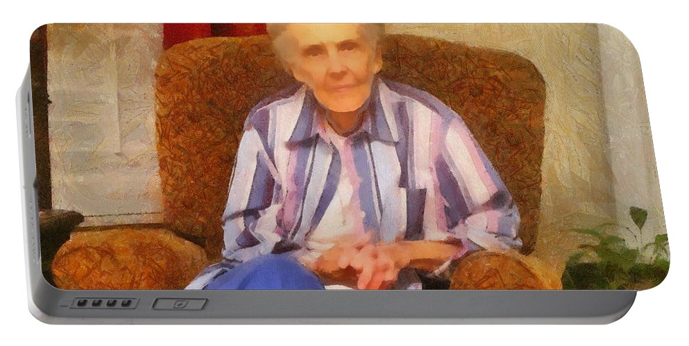 Chair Portable Battery Charger featuring the painting Grandmother by Jeffrey Kolker