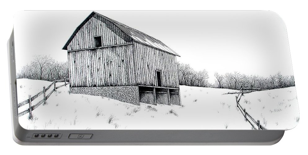 Barn Portable Battery Charger featuring the painting Grandpa's Barn by Van Bunch