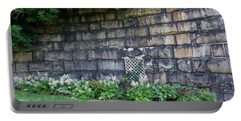 Garden Portable Battery Charger featuring the photograph Granite Railroad Abutment by Sherman Perry