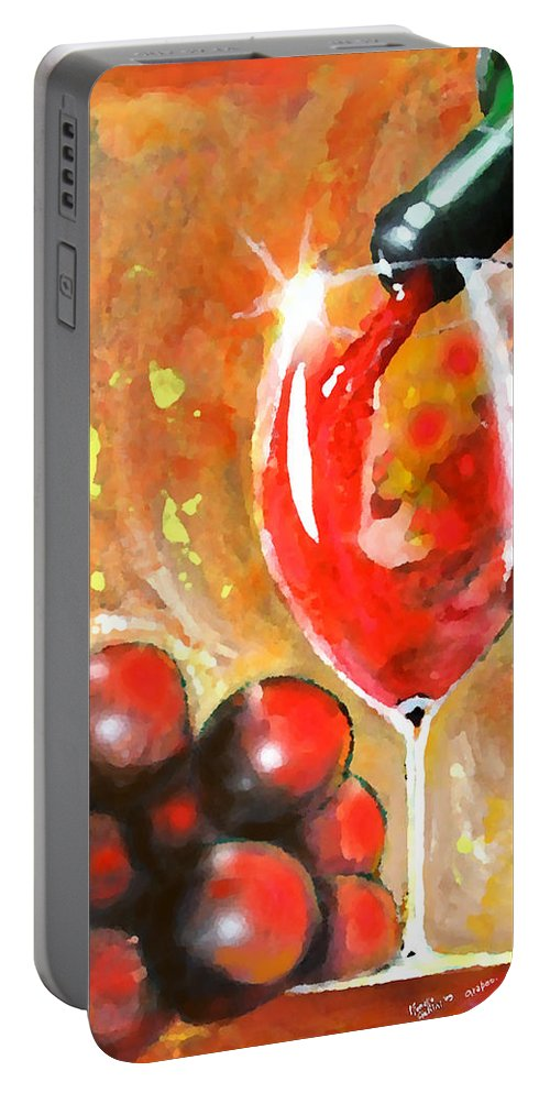 Expressionism Portable Battery Charger featuring the painting Grapes by Marcello Cicchini