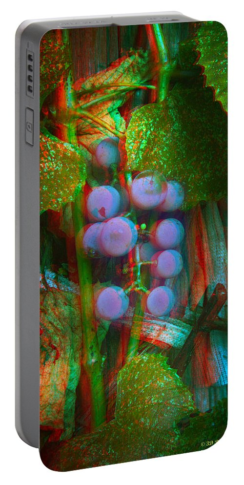 3d Portable Battery Charger featuring the photograph Grapes On The Vine - Use Red-cyan Filtered 3d Glasses by Brian Wallace