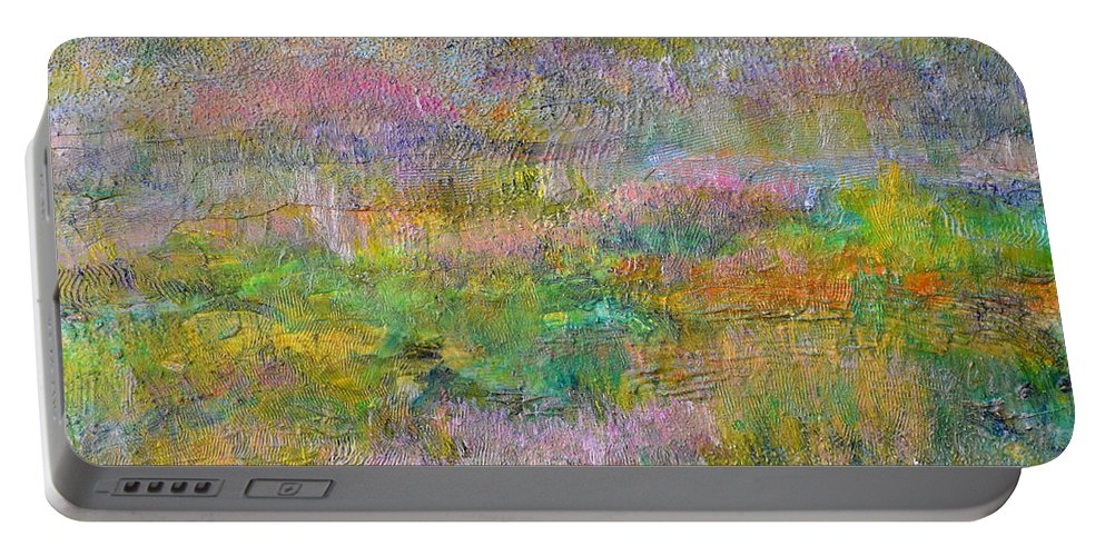 Grass Portable Battery Charger featuring the painting Grasslands by Regina Valluzzi