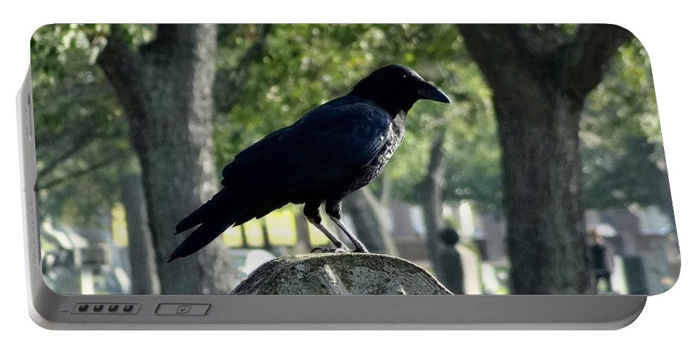Trees And Crow Portable Battery Charger featuring the photograph Graveyard Bird On Top Of A Tombstone by Gothicrow Images