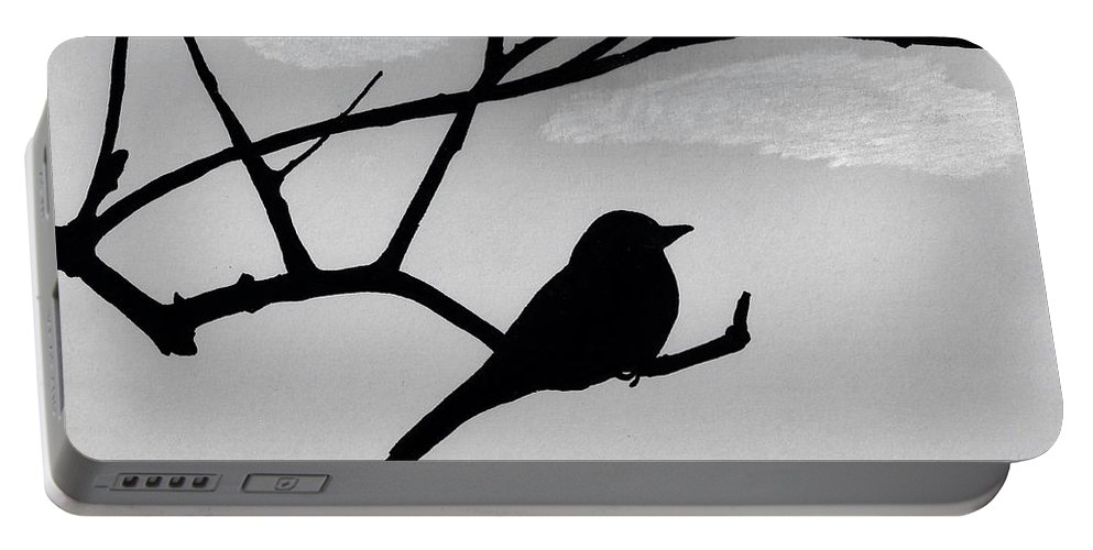 Bird Portable Battery Charger featuring the drawing Gray - Sky - Flycatcher by D Hackett