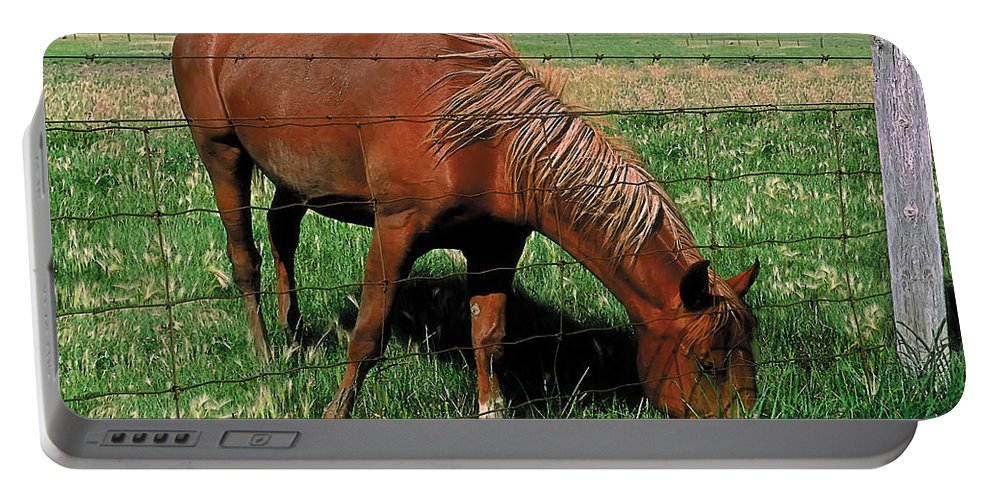 Scenic Portable Battery Charger featuring the painting Grazing by Terry Reynoldson