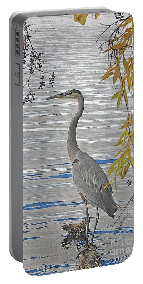 Heron Portable Battery Charger featuring the photograph Great Blue Heron by Ann Horn