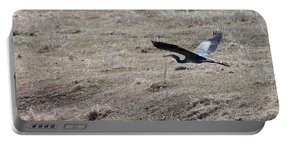 Birds Portable Battery Charger featuring the photograph Great Blue Heron Flight by Wayne Williams