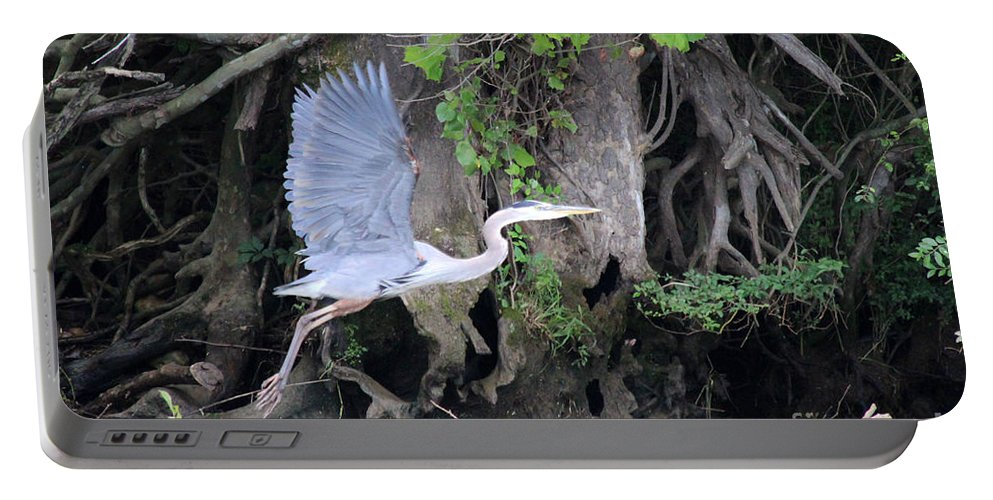 Blue Portable Battery Charger featuring the photograph Great Blue Heron In Flight by Jemmy Archer