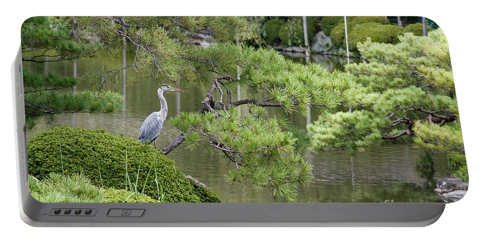 Blue Portable Battery Charger featuring the photograph Great Blue Heron In Pond Kyoto Japan by Thomas Marchessault