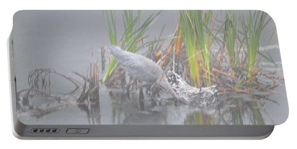 Great Blue Heron Portable Battery Charger featuring the photograph Great Blue Heron Strike by Thomas Phillips