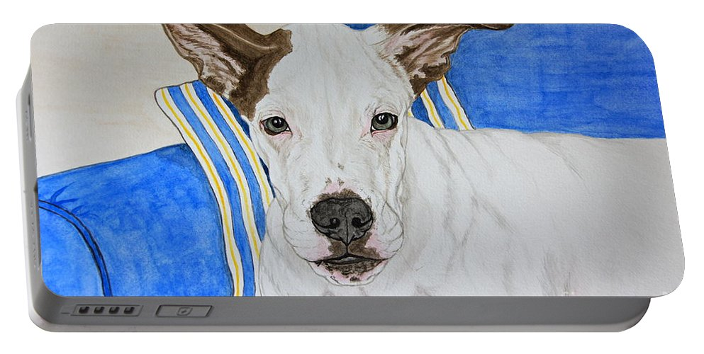 Zane The Dane Portable Battery Charger featuring the painting Zane The Dane by Megan Cohen