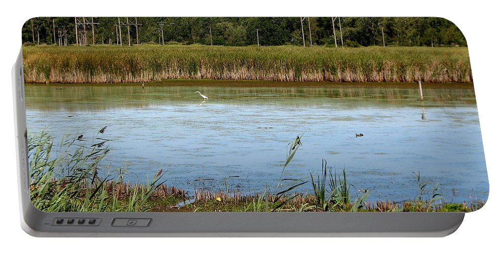 Great Egret Portable Battery Charger featuring the photograph Great Egret On Berm Pond At Tifft Nature Preserve Buffalo New York by Rose Santuci-Sofranko
