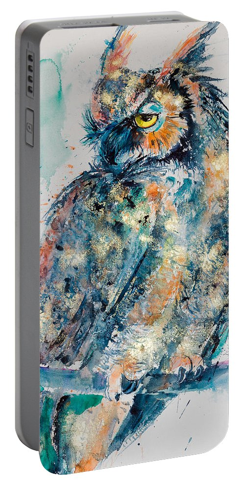 Great Horned Owl Portable Battery Charger featuring the painting Great Horned Owl In Gold by Kovacs Anna Brigitta
