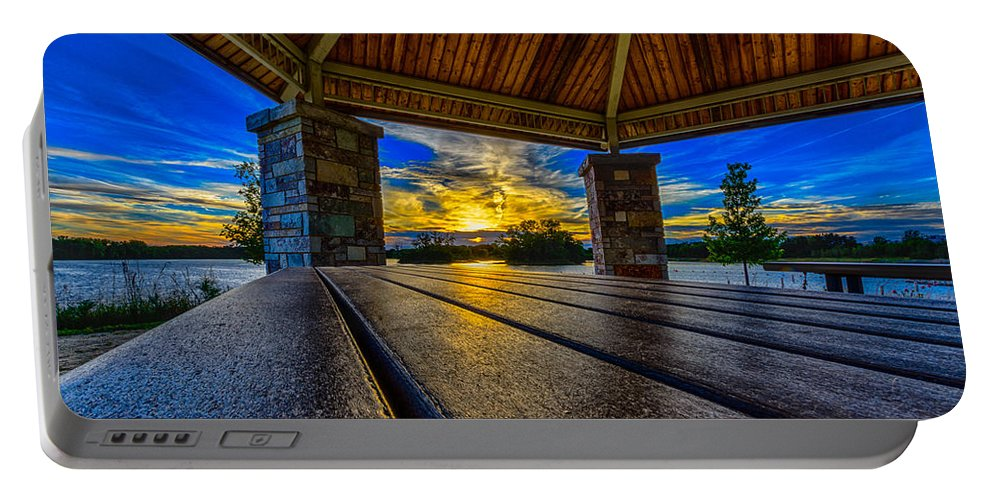Sunset Portable Battery Charger featuring the photograph Great Night For A Picnic by Randy Scherkenbach