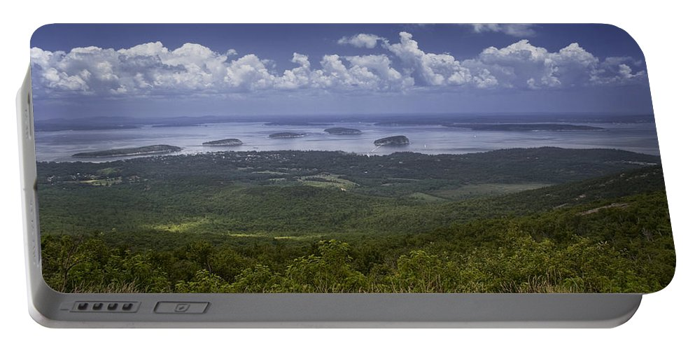 Art Portable Battery Charger featuring the photograph Great View On Top Of Cadilac Mountain by Randall Nyhof