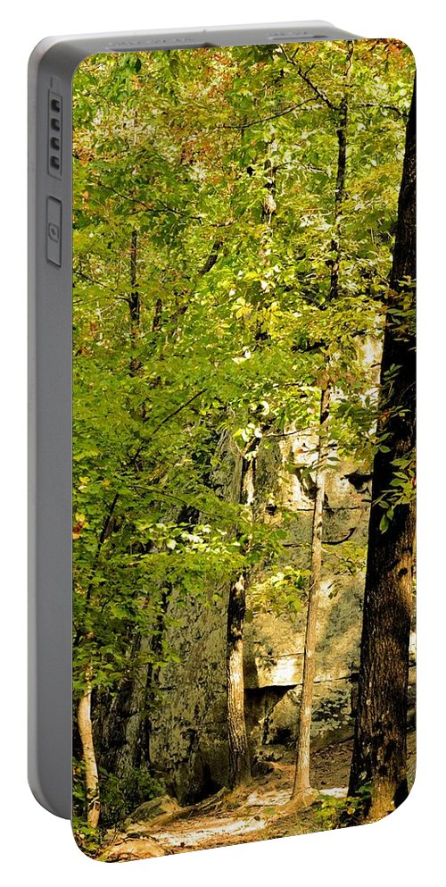 Great Wall Of Rock In Boulder Field Portable Battery Charger featuring the photograph Great Wall Of Rock In Boulder Field by Maria Urso