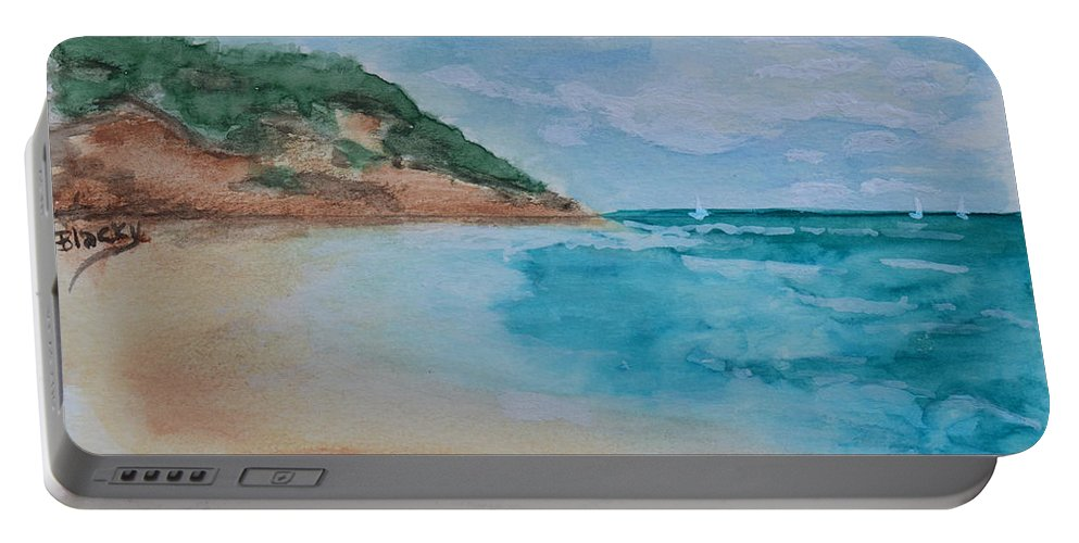 Sea Portable Battery Charger featuring the painting Grecian Sea by Donna Blackhall