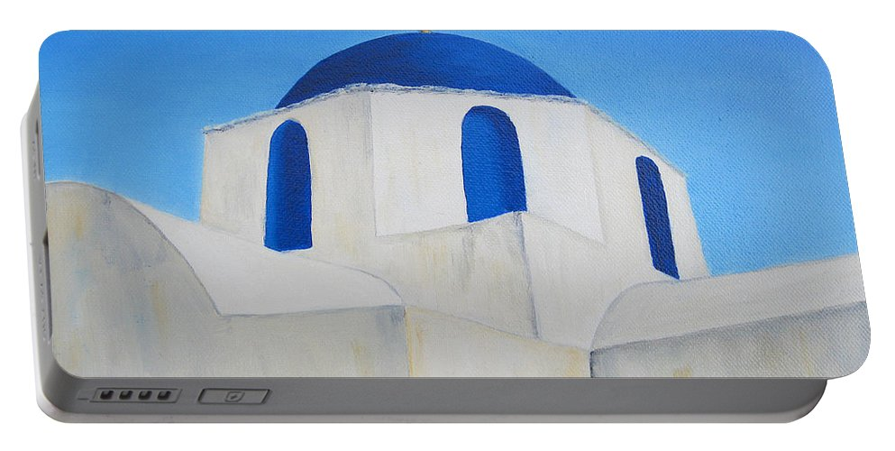Greece Portable Battery Charger featuring the painting Greek Island Church by Jerome Stumphauzer