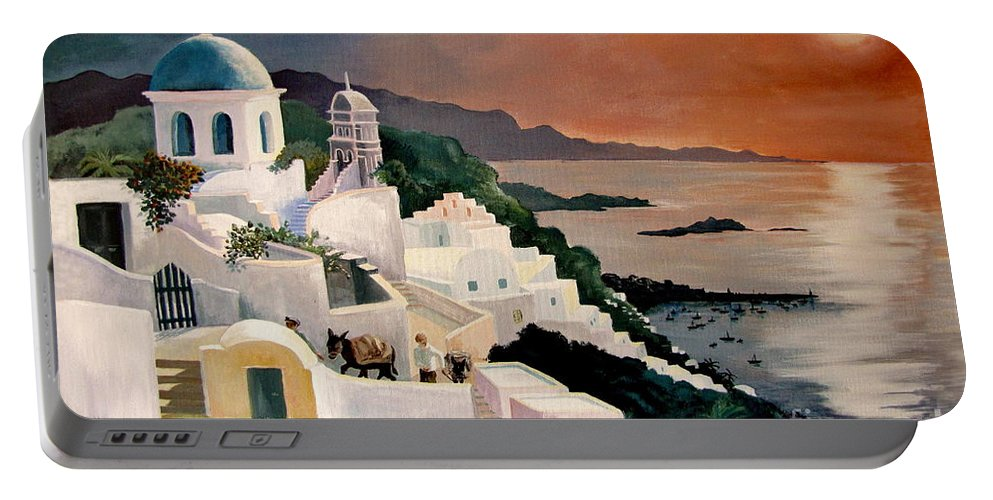 Greek Isles Portable Battery Charger featuring the painting Greek Isles by Marilyn Smith