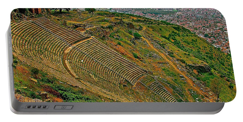 Greek Theatre With Bergama In Background From Pergamum Portable Battery Charger featuring the photograph Greek Theatre With Bergama In Background From Pergamum-turkey by Ruth Hager