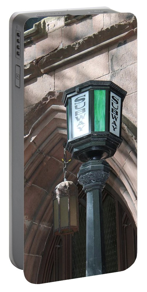 Subway Station Portable Battery Charger featuring the photograph Green And White by Catie Canetti