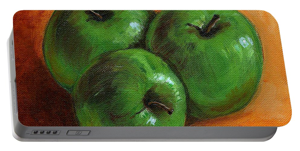 Apples Portable Battery Charger featuring the painting Green Apples by Asha Sudhaker Shenoy