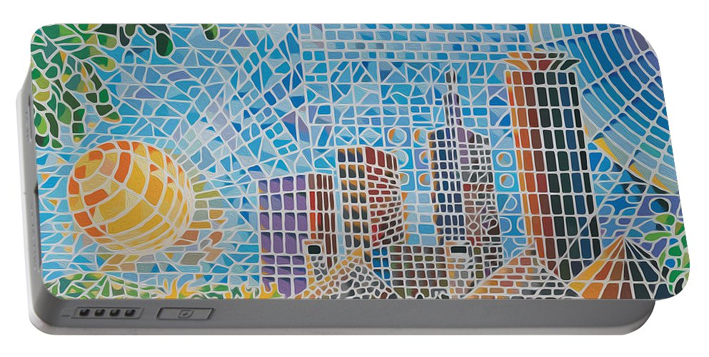 Nairobi Portable Battery Charger featuring the painting Green City In The Sun by Anthony Mwangi