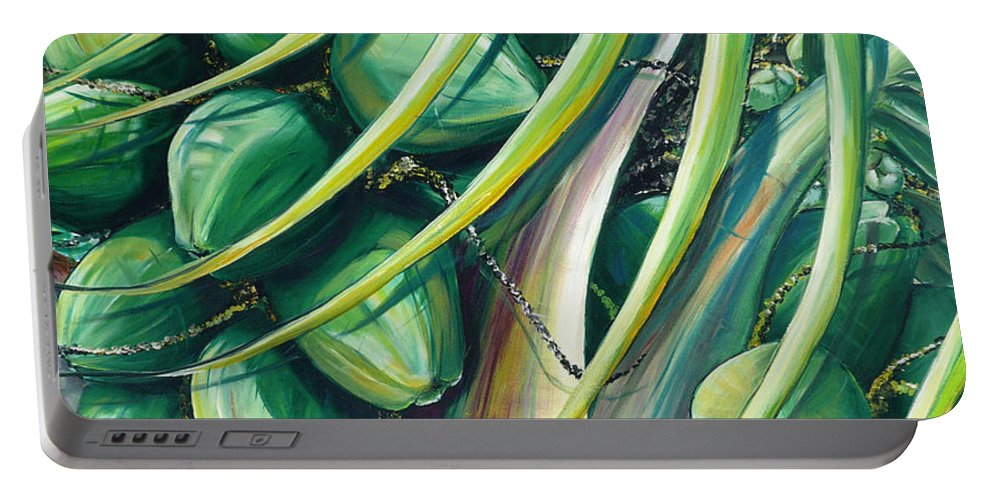 Coconut Painting Caribbean Painting Coconuts Caribbean Tropical Painting Palm Tree Painting  Green Botanical Painting Green Painting Portable Battery Charger featuring the painting Green Coconuts 2 by Karin Dawn Kelshall- Best