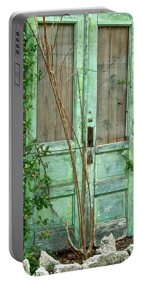 Old Doors Portable Battery Charger featuring the photograph Green Cottage Doors by Angie Mahoney