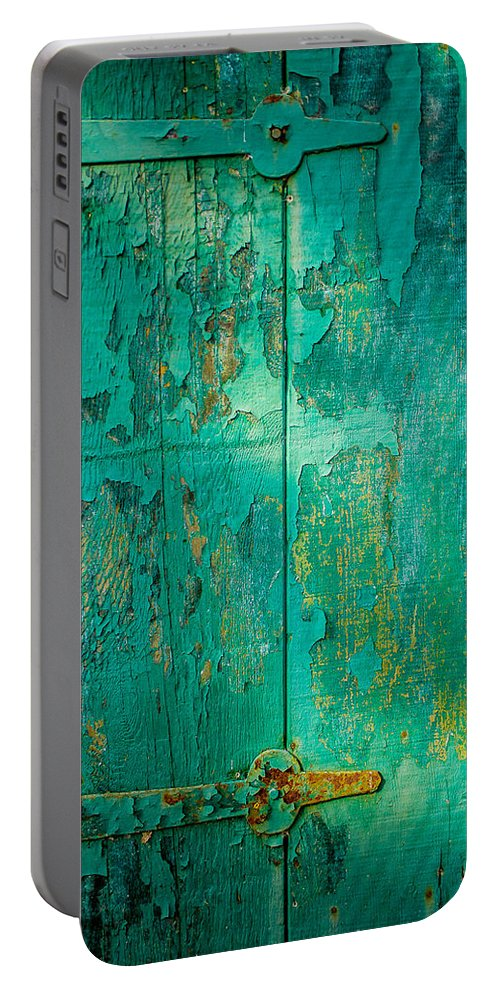 Wabi Sabi Portable Battery Charger featuring the photograph Green Door - Carmel By The Sea by David Smith