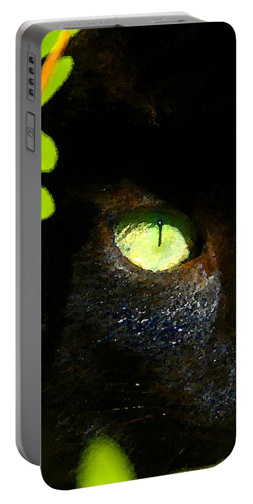Green Eyed Black Cat Portable Battery Charger featuring the painting Green Eyed Black Cat by David Lee Thompson