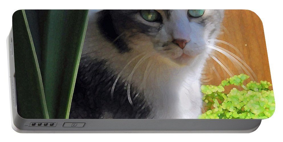 Cat Portable Battery Charger featuring the photograph Green Eyed Cat by Lynn Hansen