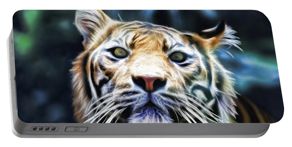Tiger Portable Battery Charger featuring the photograph Green Eyes by Douglas Barnard
