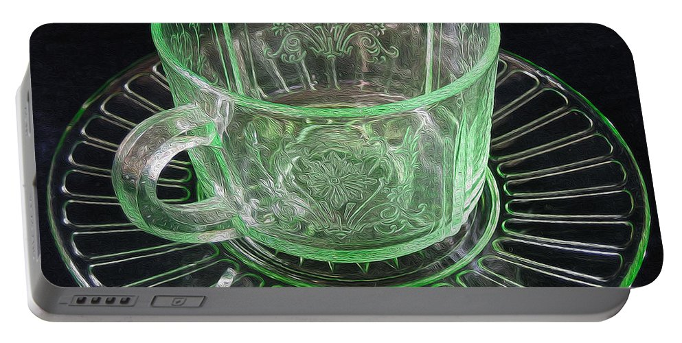 Green Portable Battery Charger featuring the photograph Green Glass Cup And Saucer by Nina Silver