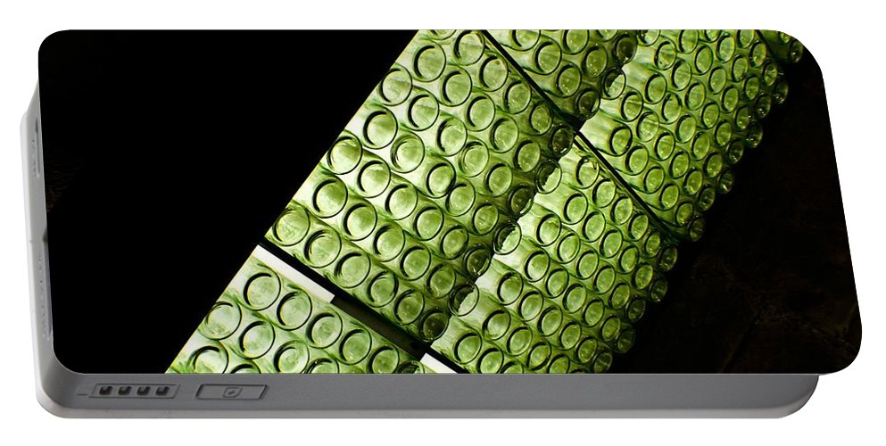 Abstract Portable Battery Charger featuring the photograph Green Glass by Kathleen Odenthal
