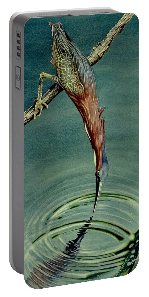 Green Hereon Portable Battery Charger featuring the painting Green Heron by Greg and Linda Halom