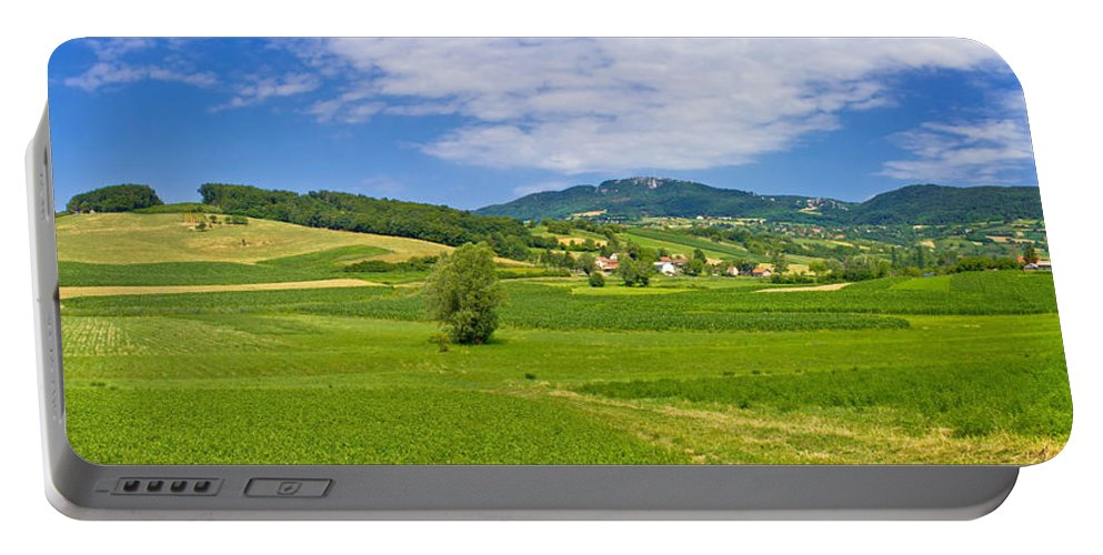 Croatia Portable Battery Charger featuring the photograph Green Hills Nature Panoramic View by Brch Photography