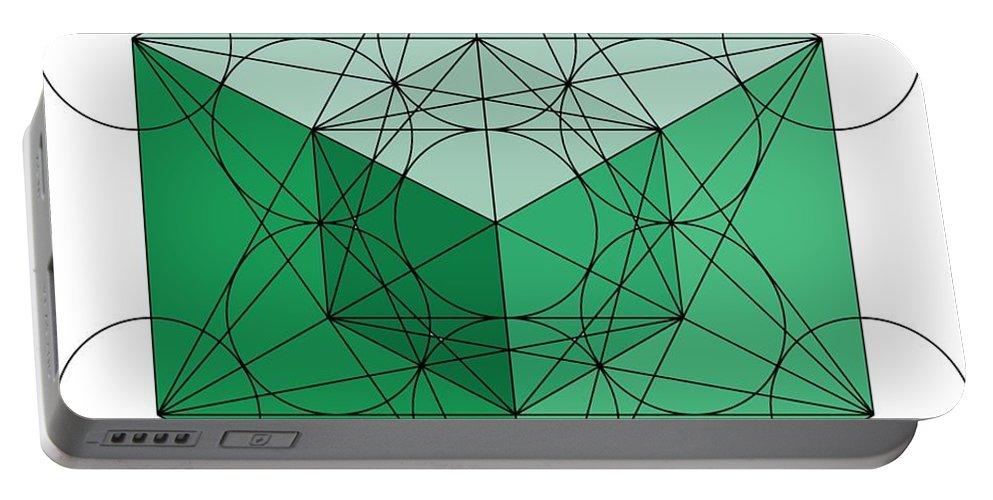 Metatron Portable Battery Charger featuring the digital art Green Hypercube by Steven Dunn