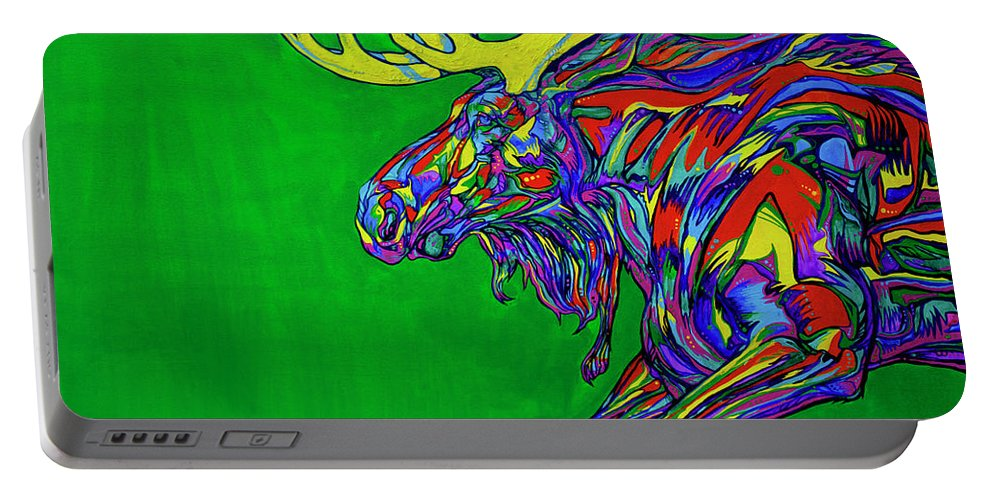 Contemporary Art Portable Battery Charger featuring the painting Green Mega Moose by Derrick Higgins