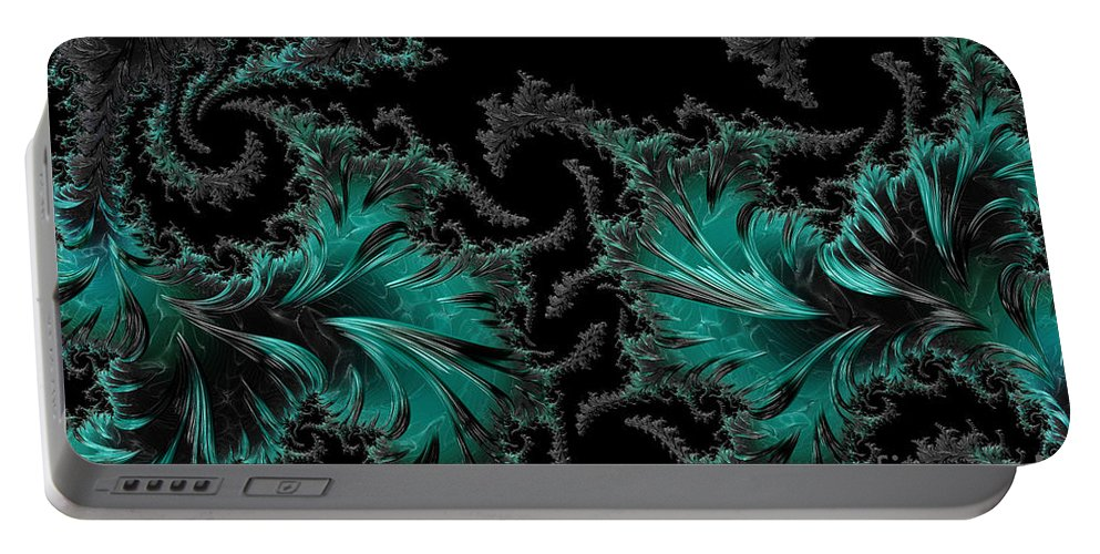 Fractal Portable Battery Charger featuring the digital art Green Paisley - A Fractal Abstract by Ann Garrett