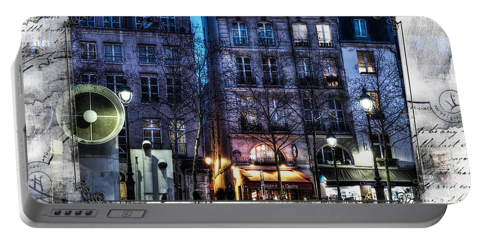 Paris France Portable Battery Charger featuring the photograph Green Pipes Of Pompidou Center Paris by Evie Carrier