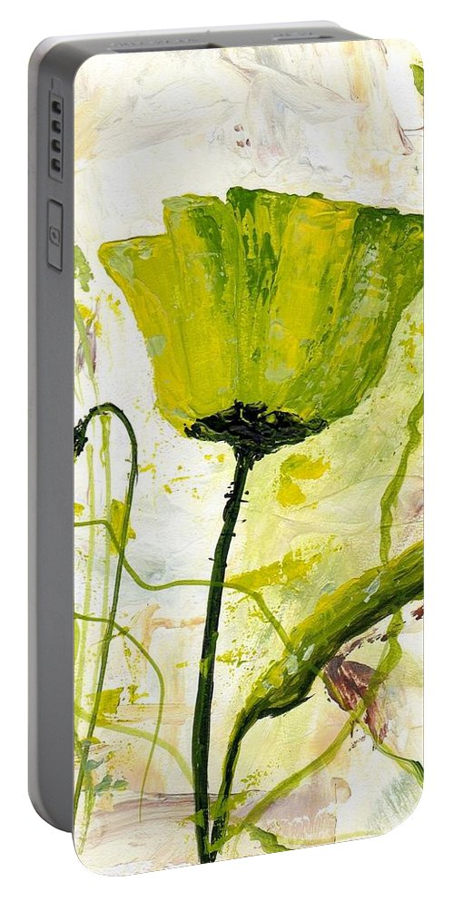 Art Portable Battery Charger featuring the painting Green Poppy 003 by Voros Edit