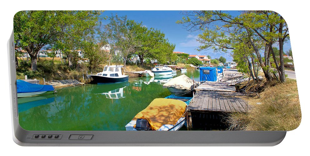 Green Portable Battery Charger featuring the photograph Green River Boats In Croatia by Brch Photography