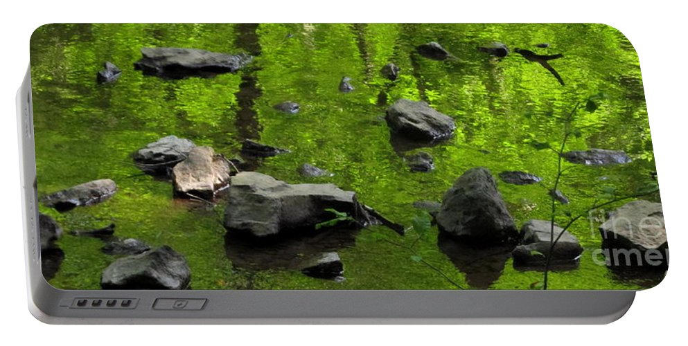 Green Stream Reflections Waterscapes Streamscapes Green Creek Green Brook Forest Reflections Woodland Stream Water Reflection Waterscapes Aquascapes Water Art H2o Portable Battery Charger featuring the photograph Green Stream by Joshua Bales