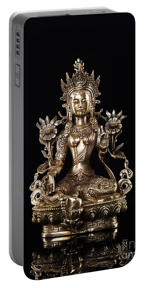 Tara Portable Battery Charger featuring the photograph Green Tara Buddhist Goddess Statue by Oleksiy Maksymenko