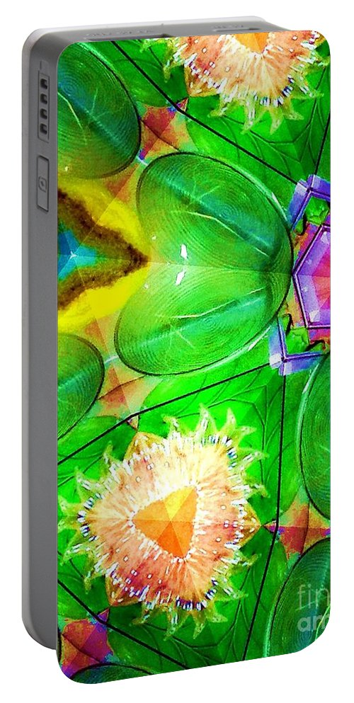 Green Portable Battery Charger featuring the digital art Green Thing 2 Abstract by Saundra Myles