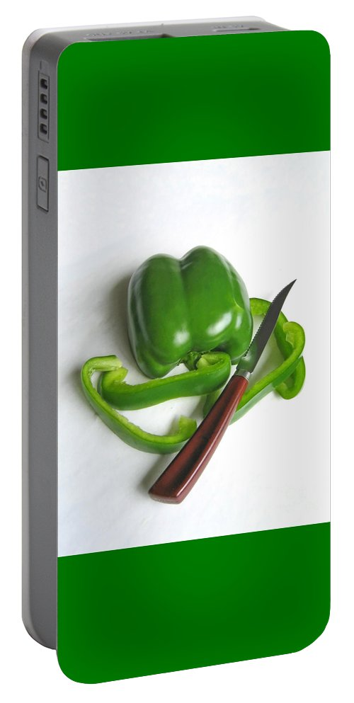 Food Portable Battery Charger featuring the photograph Green Veggie Munchie by Ann Horn